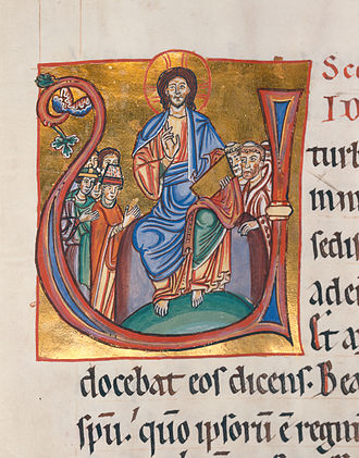 "Manuscript - Christ Pantocrator seated in a capital ""U"" in an illuminated manuscript from the Badische Landesbibliothek, Germany."