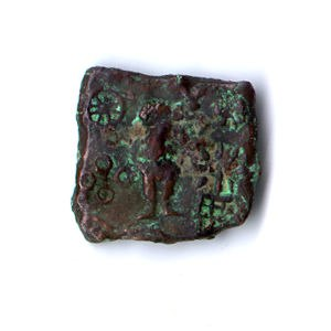 Malwa - Coin showing Karttikeya and Lakshmi (Ujjain, circa 150–75 BC)