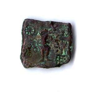 Malwa - Coin showing Karttikeya and Lakshmi (Ujjain, circa 150–75 BC)