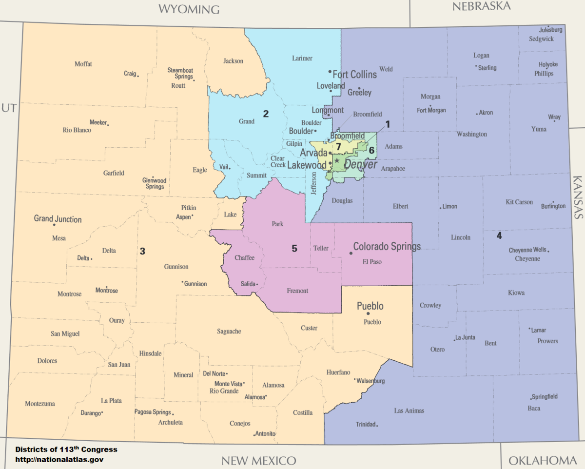 Colorados Congressional Districts Wikipedia - Colorado us map