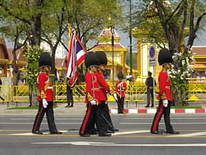 King's Guard (Thailand) - Image: Colours guards of 1st Infantry Regiment in the Royal Funeral Procession of Princess Bejaratana Rajasuda 2