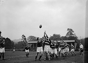 Pontypool RFC - A combined Pontypool and Newbridge (hoops) verses South Africa (The Springboks) on 18 October 1951