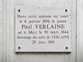 Commemoration plate for Paul Verlaine, Rue Descartes, Paris.jpg