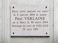 Commemoration plate for Paul Verlaine, Rue Descartes, Paris.jpg