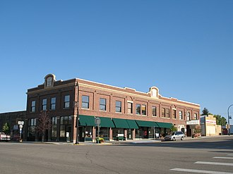 National Register of Historic Places listings in Converse County, Wyoming - Image: Commerce Block commercial building in Glenrock, WY USA