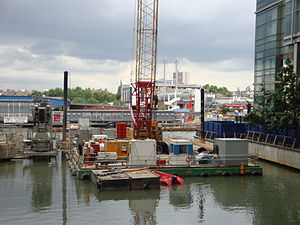 Canary Wharf railway station - Image: Construction of crossrail gets underway, Canary Wharf