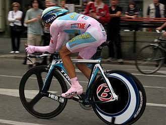 Alberto Contador - Contador wearing the pink jersey during the 21st stage of the 2008 Giro d'Italia.