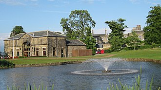 Cookridge - Cookridge Hall. The building on the left is the former coach house, now the golf clubhouse