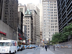 Cortlandt Street (Manhattan) - Looking east down Cortlandt Street from One Liberty Plaza; the building with the green mansard roof is 174 Broadway, also known as 1 Maiden Lane. When Cortlandt Street crosses Broadway it become Maiden Lane.