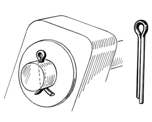 Split pin - A split pin (UK usage) / cotter pin (USA usage) holding a rod in place with a washer.