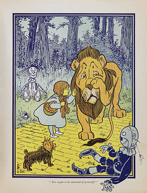 William Wallace Denslow - Dorothy meets the Cowardly Lion, from the first edition of The Wonderful Wizard of Oz.