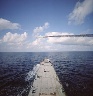 GQM-163 Coyote - A GQM-163A Coyote flies over the bow of a U.S. Navy observation ship during a routine test.