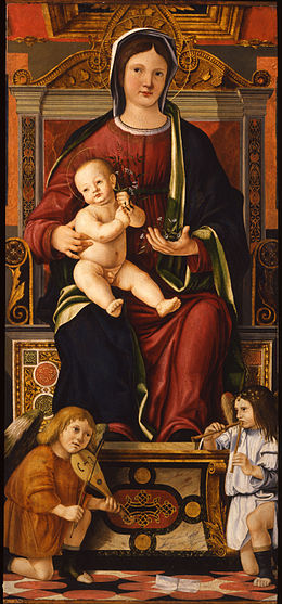 Cristoforo Caselli - The Virgin and Child Enthroned with Two Musician Angels - Google Art Project.jpg
