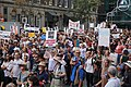 Crowd of protesters with signs at the Stand Against Racism protest in Auckland city, Sunday 24 March 2019.jpg