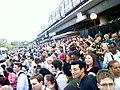Crowds at Rhode Island Avenue station following 2009 WMATA collision 1.jpg