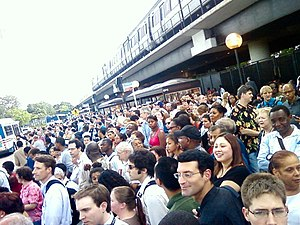 June 2009 Washington Metro train collision - Evening rush hour commuters waiting to board shuttle buses at the Rhode Island Avenue–Brentwood station on the evening of the collision.