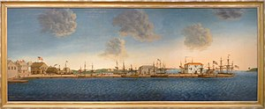 Crowninshield family - Crowninshield's Wharf.  This painting by George Ropes, Jr. is in the Peabody Essex Museum in Salem, Massachusetts.