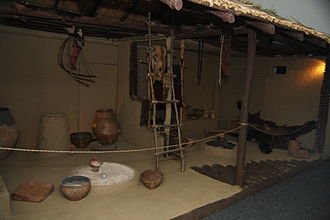 Economy of the Cucuteni–Trypillia culture - Reconstruction of a typical Cucuteni-Trypillia house, in the Cucuteni Museum, Piatra Neamț, Romania. Notice the many varied work stations within the home.