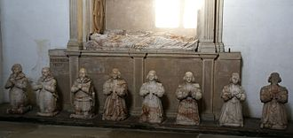 Childhood in early modern Scotland - Sir George Bruce monument, Culross Abbey, showing his children praying below the tomb