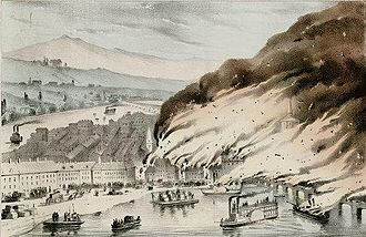 Great Fire of Pittsburgh - Detail from Nathaniel Currier print, Great Conflagration at Pittsburgh, Pa