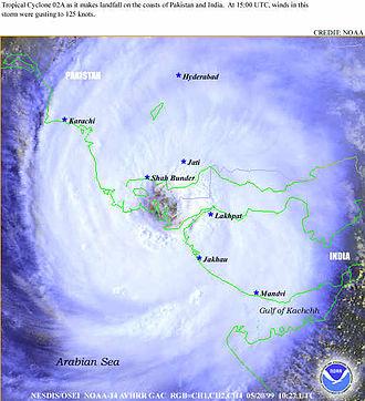 Emergency response (museum) - Engulfing cyclone making landfall in Pakistan in May, 1999
