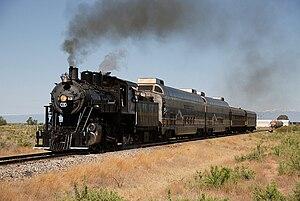 Rio Grande Scenic Railroad - No. 18, a 2-8-0, leads an excursion through Blanca, Colorado in 2008.
