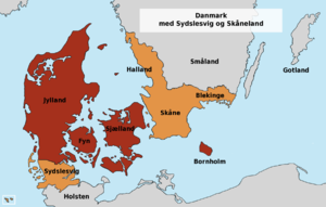 Southern Schleswig - Today's Denmark and the former Danish provinces Southern Schleswig, Skåne, Halland and Blekinge.