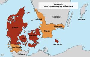 Southern Schleswig - Today's Denmark and the former Danish provinces Southern Schleswig, Skåne, Halland and Blekinge.