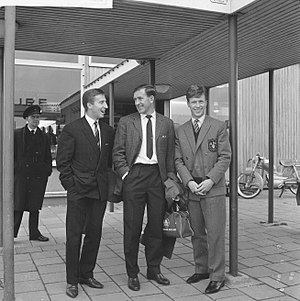 Cliff Jones (Welsh footballer) - Cliff Jones with Danny Blanchflower and John White in Rotterdam in 1961
