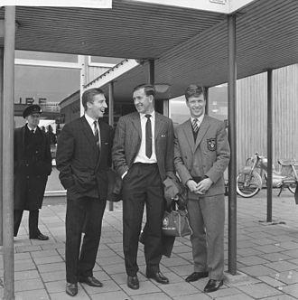 Cliff Jones (Welsh footballer) - Cliff Jones with Danny Blanchflower and John White in Rotterdam in 1961