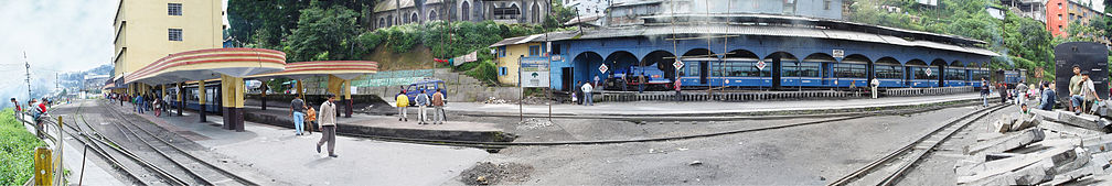 Panoramic view of Darjeeling Himalayan Railway station at Darjeeling