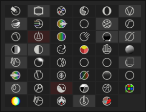 Darktable - Old plugin palette with 14 active plugins, of which 2 are set as favorites (in red)