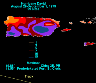 Hurricane David - Total rainfall map of David in Puerto Rico
