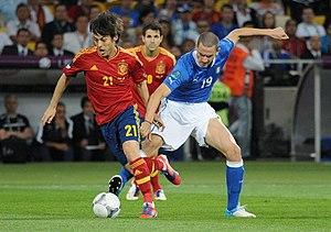 Italy–Spain football rivalry - Image: David Silva and Leonardo Bonucci Euro 2012 final