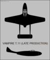De Havilland Vampire T.11 (late) two-view silhouette.png