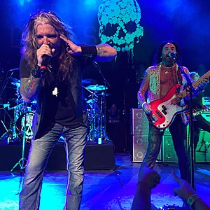 The Dead Daisies - John Corabi and Marco Mendoza of The Dead Daisies, performing at College Street Music Hall in New Haven, Connecticut on July 28, 2015.