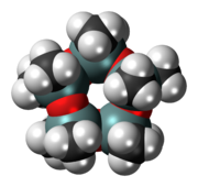 Space-filling model of the decamethylcyclopentasiloxane molecule