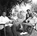 Deck chair, garden, men, women, summer, smile, tableau Fortepan 70276.jpg