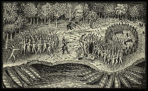 Samuel de Champlain - Engraving based on a drawing by Champlain of his 1609 voyage. It depicts a battle between Iroquois and Algonquian tribes near Lake Champlain