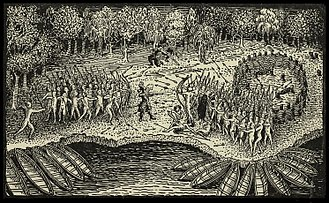 Northwest Indian War - Engraving based on a drawing by Champlain of his 1609 voyage. It depicts a battle between Iroquois and Algonquian tribes near Lake Champlain