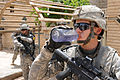 Defense.gov News Photo 100705-A-2451H-051 - A U.S. Army soldier assigned to White Platoon 1st Battalion 30th Infantry Regiment 2nd Brigade Combat Team 3rd Infantry Division drinks water.jpg