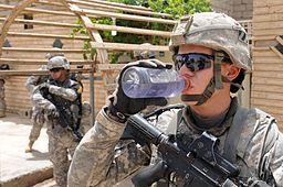 Defense.gov News Photo 100705-A-2451H-051 - A U.S. Army soldier assigned to White Platoon 1st Battalion 30th Infantry Regiment 2nd Brigade Combat Team 3rd Infantry Division drinks water