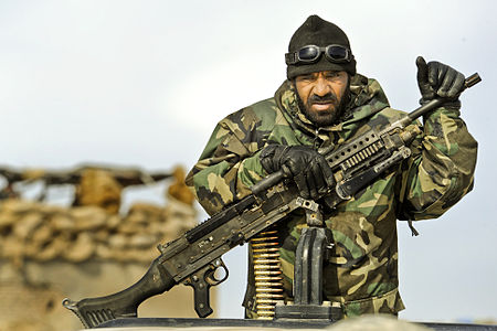 An Afghan National Army soldier provides security at a checkpoint