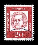 Почтовая марка ФРГ, посвящённая И.С.Баху, 1961, 20 пфеннигов (Скотт 829)
