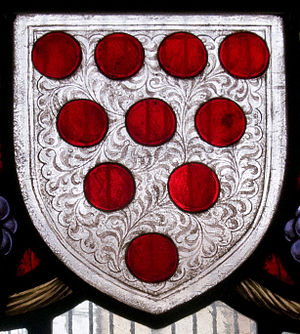 Diapering - Arabesque-like diapering  on the field of the shield of the See of Worcester: Argent, ten torteaux four, three, two, and one