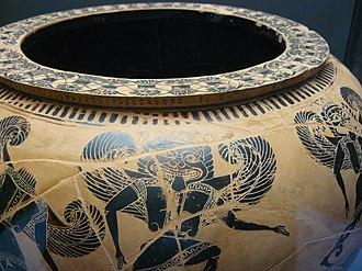 Dinos of the Gorgon Painter - Detail: upper register, a winged Gorgon