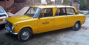 VAZ-2101 modified into a taxi limousine, in Tr...