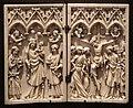 Dittico con san giovanni battista, madonna col bambino, giovanni evangelista e crocifissione, metz (forse), 1375-1400 ca.jpg