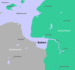 Dollart bay in the Wadden Sea between Netherlands and Germany
