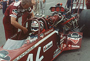 Prudhomme in his dragster before a run in 1992